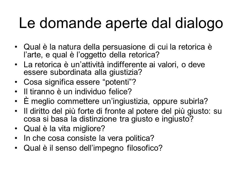 Le domande aperte dal dialogo Qual è la natura della persuasione di cui la retorica è l'arte, e qual è l'oggetto della retorica? La retorica è un'atti