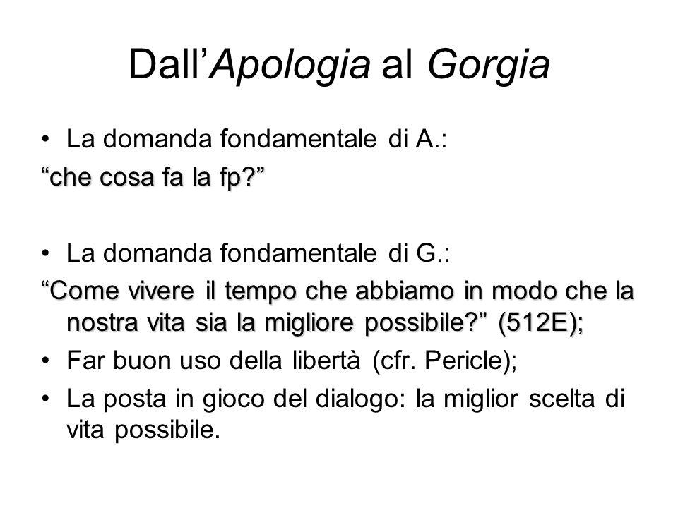 """Dall'Apologia al Gorgia La domanda fondamentale di A.: """"che cosa fa la fp?"""" La domanda fondamentale di G.: """"Come vivere il tempo che abbiamo in modo c"""