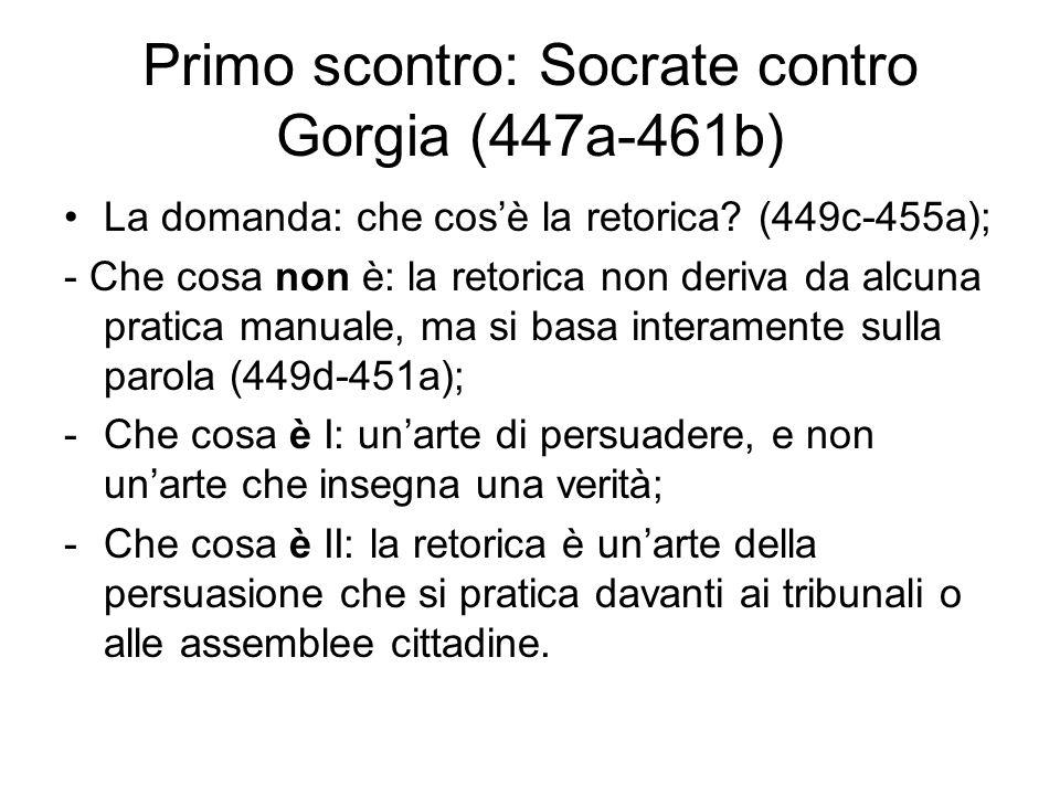 Primo scontro: Socrate contro Gorgia (447a-461b) La domanda: che cos'è la retorica? (449c-455a); - Che cosa non è: la retorica non deriva da alcuna pr