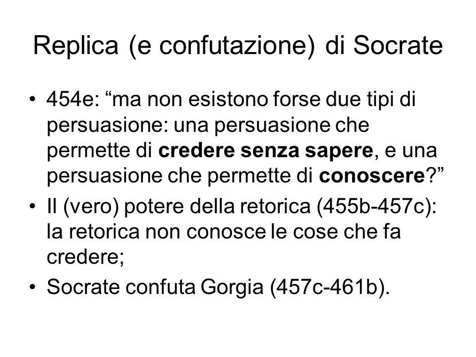 """Replica (e confutazione) di Socrate 454e: """"ma non esistono forse due tipi di persuasione: una persuasione che permette di credere senza sapere, e una"""