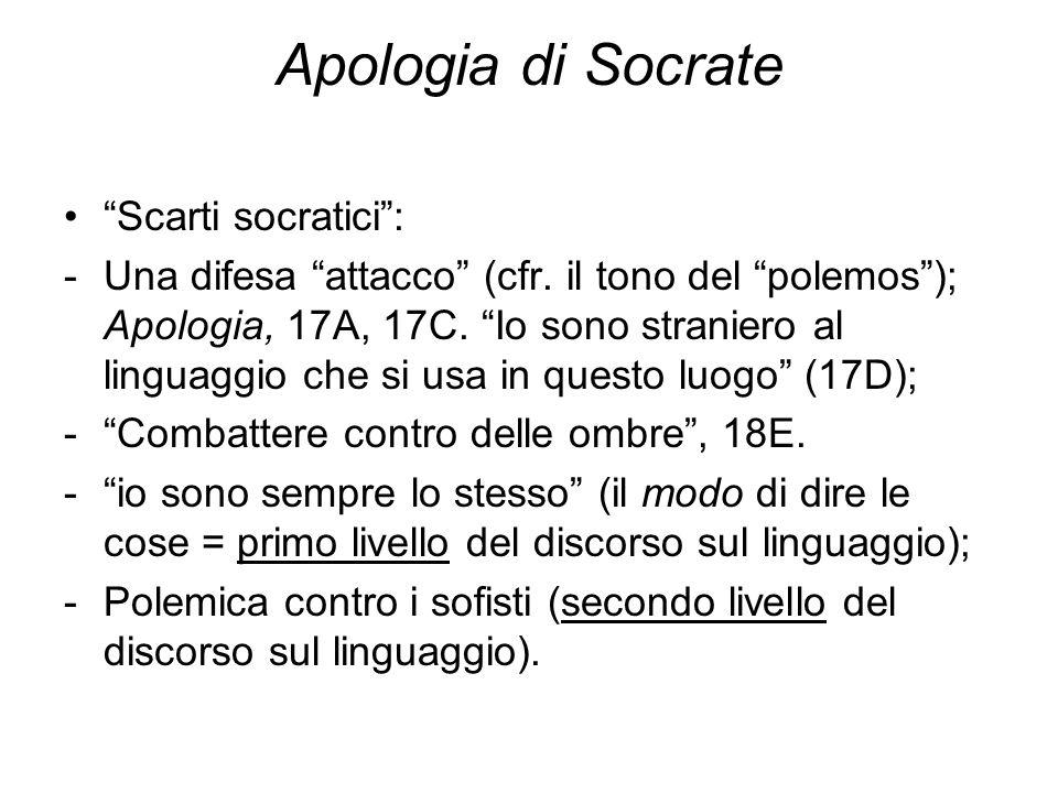 """Apologia di Socrate """"Scarti socratici"""": -Una difesa """"attacco"""" (cfr. il tono del """"polemos""""); Apologia, 17A, 17C. """"Io sono straniero al linguaggio che s"""