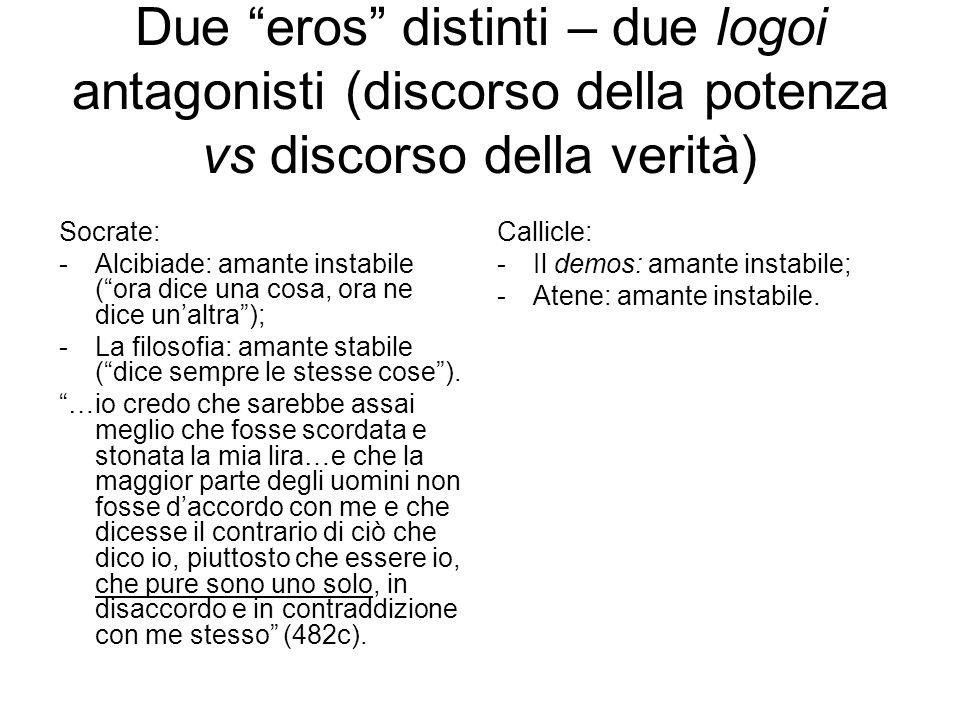 """Due """"eros"""" distinti – due logoi antagonisti (discorso della potenza vs discorso della verità) Socrate: -Alcibiade: amante instabile (""""ora dice una cos"""