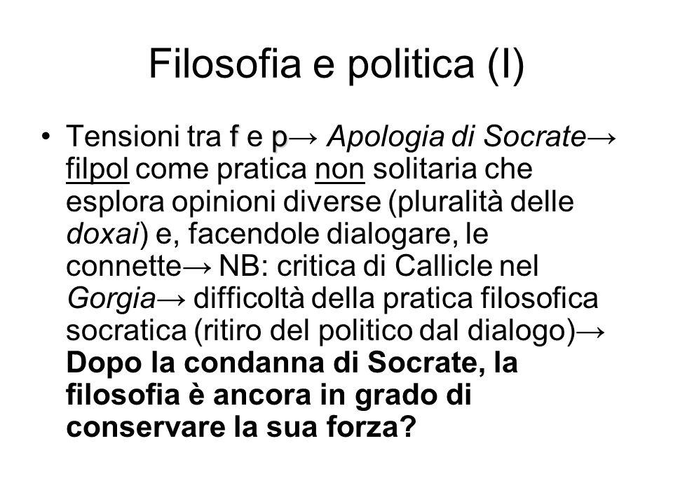 Filosofia e politica (I) fpTensioni tra f e p→ Apologia di Socrate→ filpol come pratica non solitaria che esplora opinioni diverse (pluralità delle do