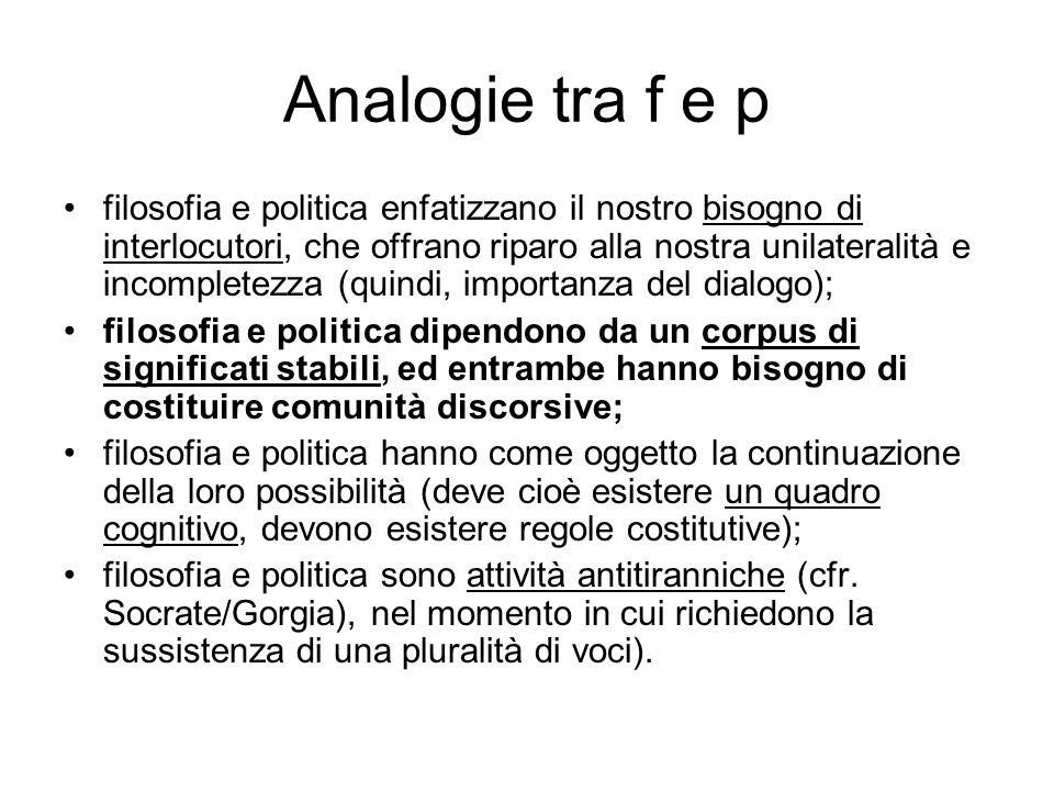 Analogie tra f e p filosofia e politica enfatizzano il nostro bisogno di interlocutori, che offrano riparo alla nostra unilateralità e incompletezza (