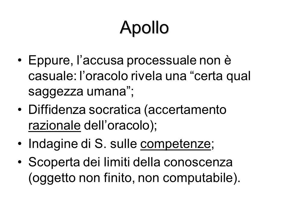 """Apollo Eppure, l'accusa processuale non è casuale: l'oracolo rivela una """"certa qual saggezza umana""""; Diffidenza socratica (accertamento razionale dell"""