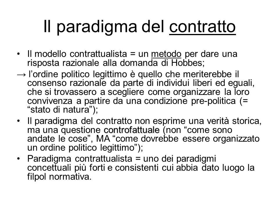 Il paradigma del contratto Il modello contrattualista = un metodo per dare una risposta razionale alla domanda di Hobbes; → l'ordine politico legittim
