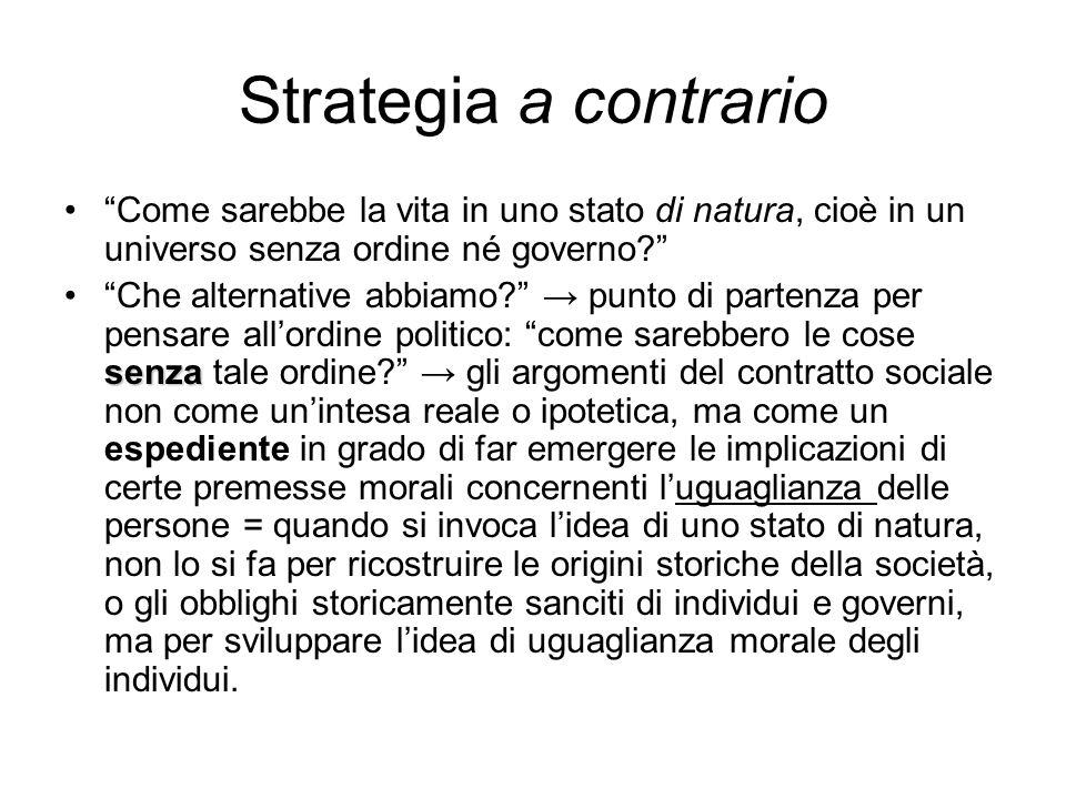 """Strategia a contrario """"Come sarebbe la vita in uno stato di natura, cioè in un universo senza ordine né governo?"""" senza""""Che alternative abbiamo?"""" → pu"""