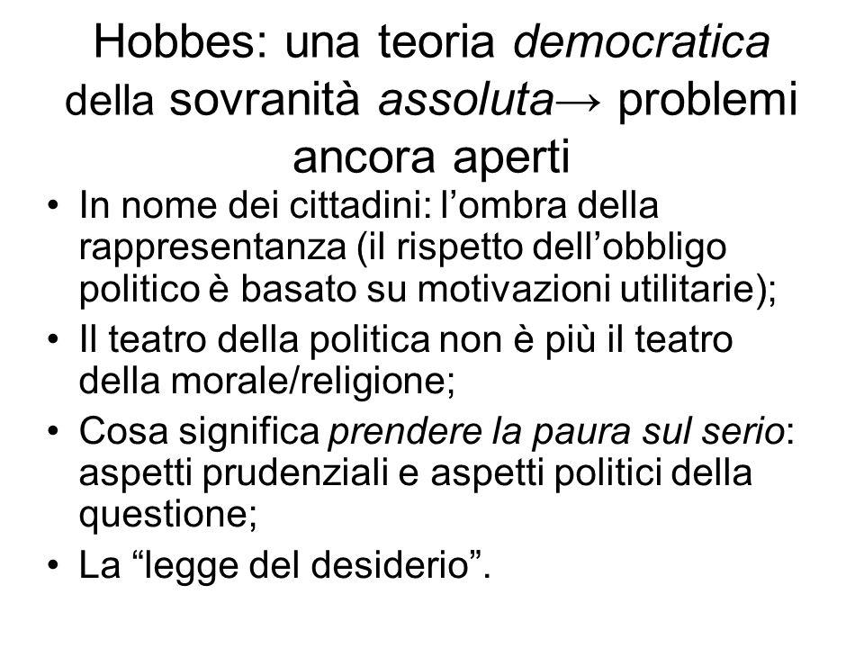 Hobbes: una teoria democratica della sovranità assoluta→ problemi ancora aperti In nome dei cittadini: l'ombra della rappresentanza (il rispetto dell'