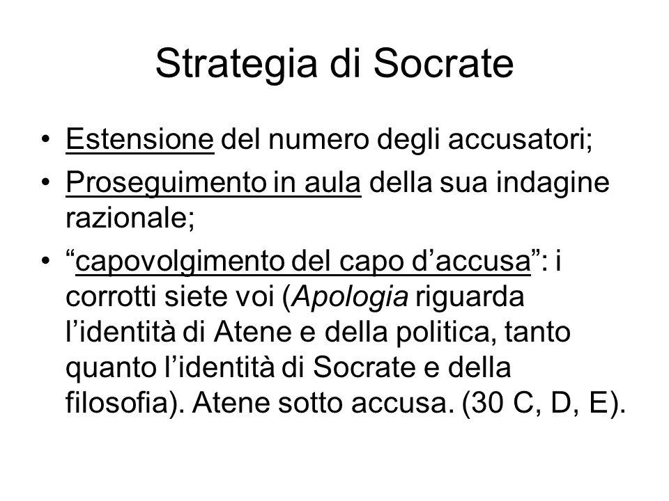 """Strategia di Socrate Estensione del numero degli accusatori; Proseguimento in aula della sua indagine razionale; """"capovolgimento del capo d'accusa"""": i"""