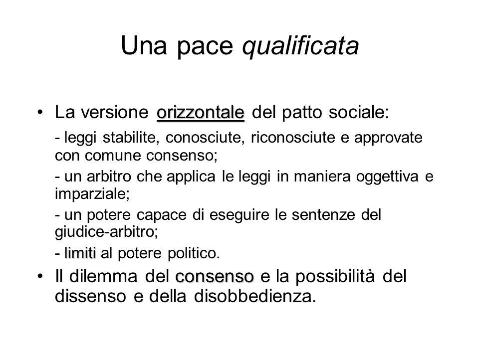 Una pace qualificata orizzontaleLa versione orizzontale del patto sociale: - leggi stabilite, conosciute, riconosciute e approvate con comune consenso