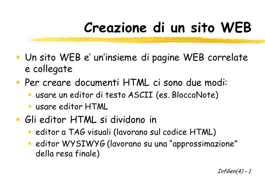 Creazione di un sito WEB  Un sito WEB e' un'insieme di pagine WEB correlate e collegate  Per creare documenti HTML ci sono due modi:  usare un editor di testo ASCII (es.