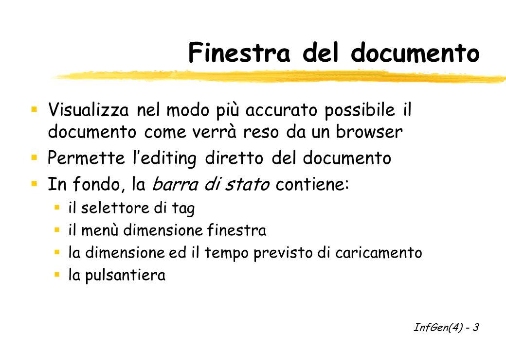 Tavolozza oggetti  Permette l'inserimento rapido all'interno del documento di oggetti d'uso comune  Esistono 4 gruppi di oggetti:  comuni (es.