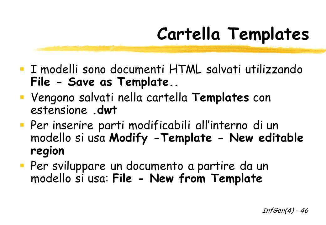 Cartella Templates  I modelli sono documenti HTML salvati utilizzando File - Save as Template..