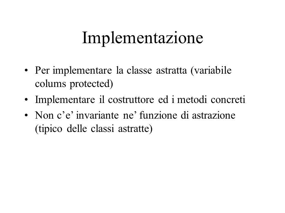 Implementazione Per implementare la classe astratta (variabile colums protected) Implementare il costruttore ed i metodi concreti Non c'e' invariante ne' funzione di astrazione (tipico delle classi astratte)