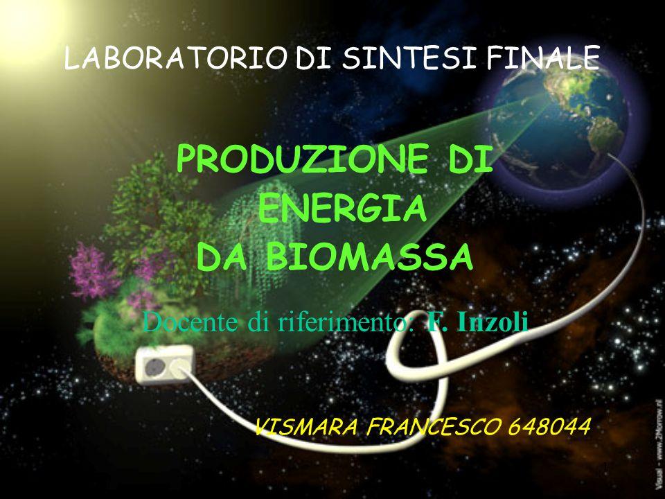 1 LABORATORIO DI SINTESI FINALE PRODUZIONE DI ENERGIA DA BIOMASSA VISMARA FRANCESCO 648044 Docente di riferimento: F. Inzoli
