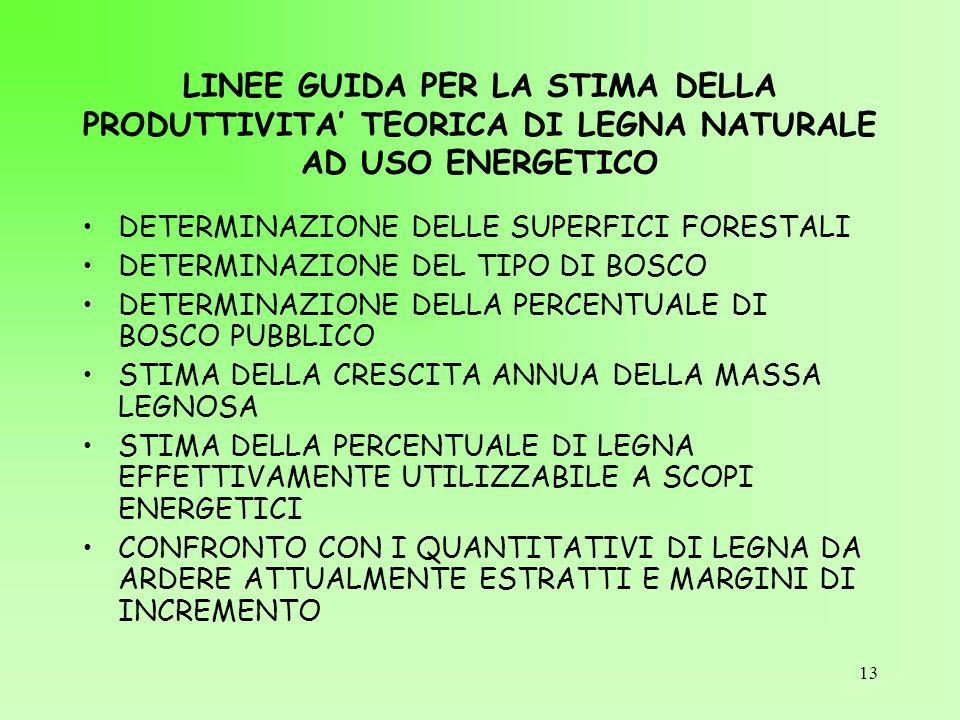 13 LINEE GUIDA PER LA STIMA DELLA PRODUTTIVITA' TEORICA DI LEGNA NATURALE AD USO ENERGETICO DETERMINAZIONE DELLE SUPERFICI FORESTALI DETERMINAZIONE DE