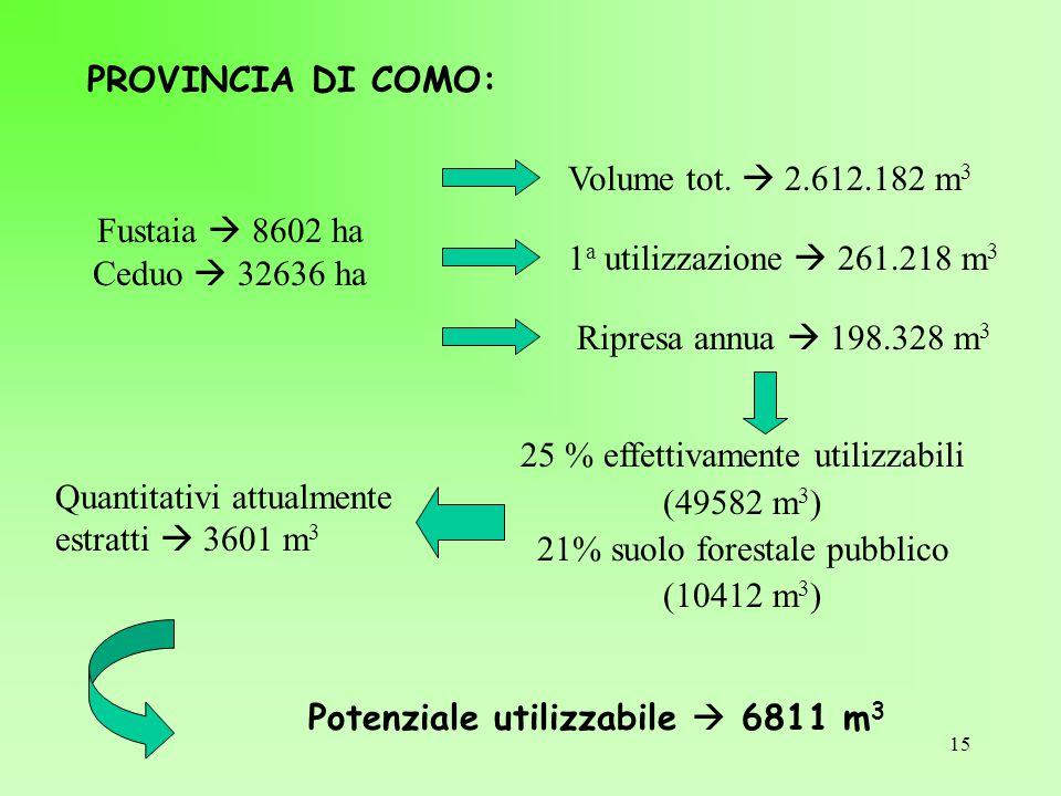 15 PROVINCIA DI COMO: Fustaia  8602 ha Ceduo  32636 ha Volume tot.  2.612.182 m 3 1 a utilizzazione  261.218 m 3 Ripresa annua  198.328 m 3 25 %