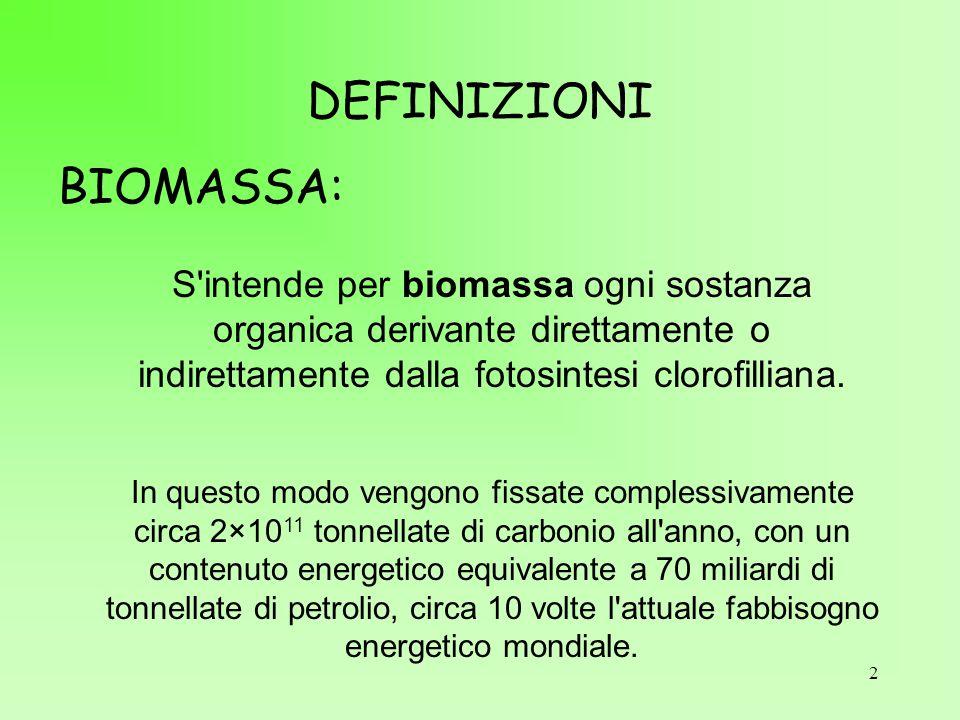 2 DEFINIZIONI S'intende per biomassa ogni sostanza organica derivante direttamente o indirettamente dalla fotosintesi clorofilliana. In questo modo ve