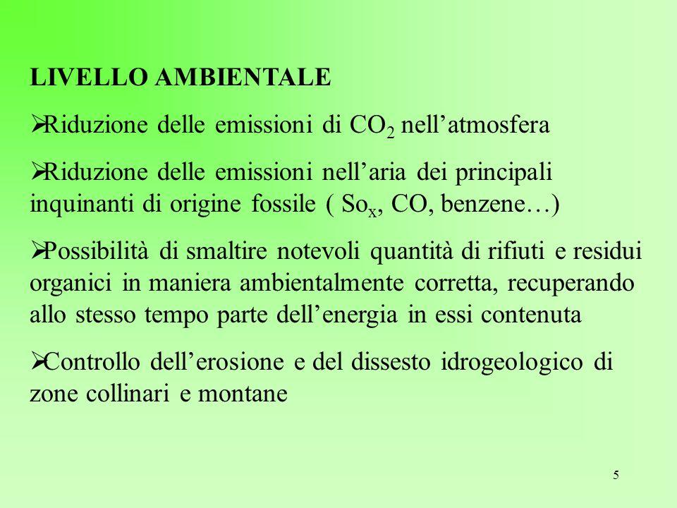 5 LIVELLO AMBIENTALE  Riduzione delle emissioni di CO 2 nell'atmosfera  Riduzione delle emissioni nell'aria dei principali inquinanti di origine fos