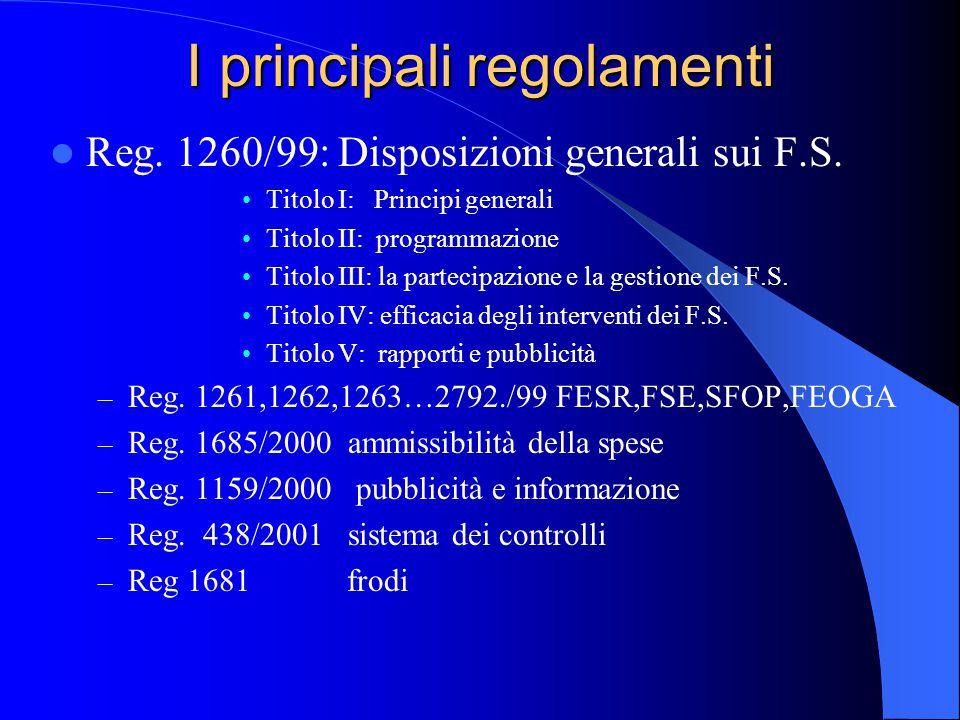 I principali regolamenti Reg. 1260/99: Disposizioni generali sui F.S. Titolo I: Principi generali Titolo II: programmazione Titolo III: la partecipazi