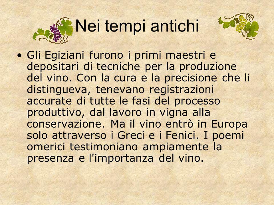 Storia del vino Nei tempi antichi Nel medioevo Gli ultimi secoli Gli ultimi decenni …. continua