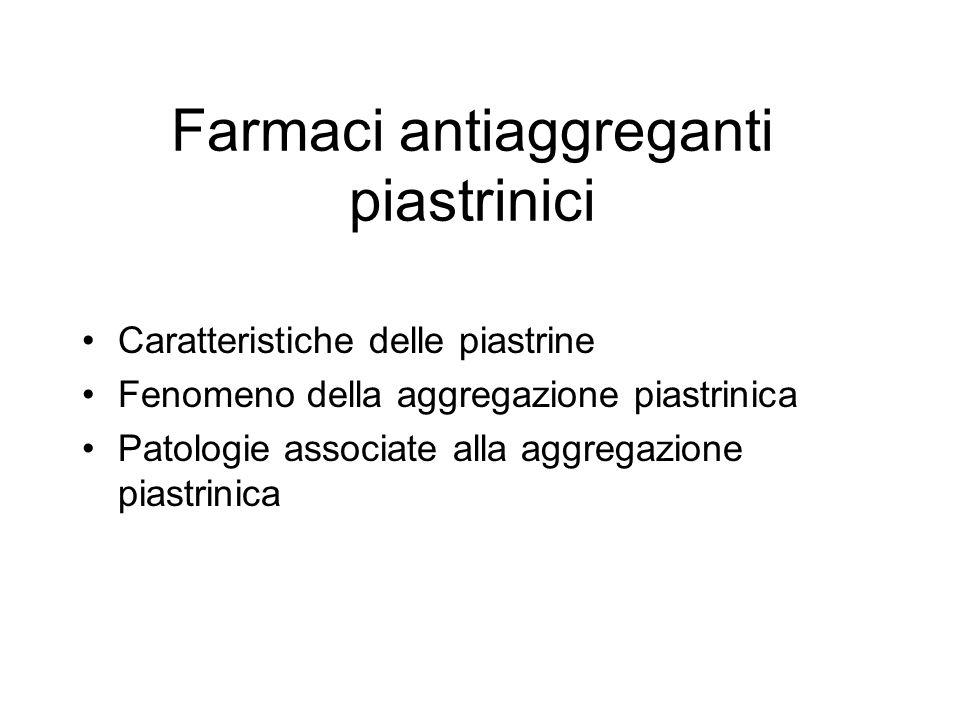 Farmaci antiaggreganti piastrinici Caratteristiche delle piastrine Fenomeno della aggregazione piastrinica Patologie associate alla aggregazione piast