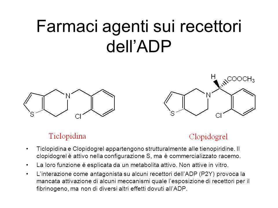 Farmaci agenti sui recettori dell'ADP Ticlopidina e Clopidogrel appartengono strutturalmente alle tienopiridine. Il clopidogrel è attivo nella configu