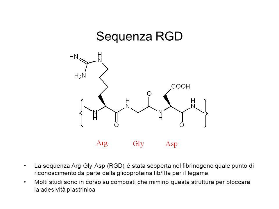Sequenza RGD La sequenza Arg-Gly-Asp (RGD) è stata scoperta nel fibrinogeno quale punto di riconoscimento da parte della glicoproteina Iib/IIIa per il