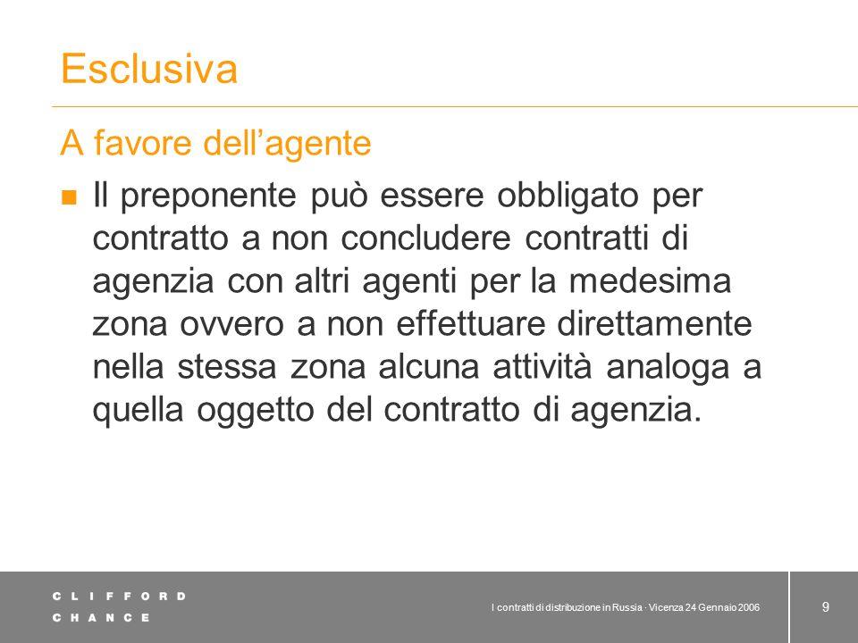 I contratti di distribuzione in Russia · Vicenza 24 Gennaio 2006 9 Esclusiva A favore dell'agente Il preponente può essere obbligato per contratto a n