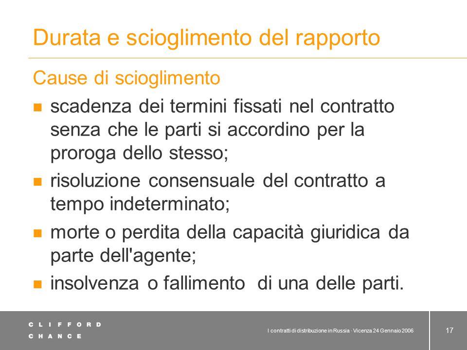 I contratti di distribuzione in Russia · Vicenza 24 Gennaio 2006 17 Durata e scioglimento del rapporto Cause di scioglimento scadenza dei termini fiss