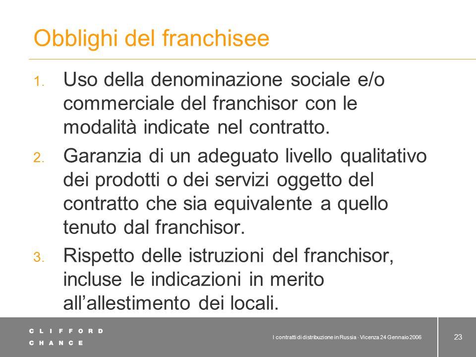 I contratti di distribuzione in Russia · Vicenza 24 Gennaio 2006 23 Obblighi del franchisee 1. Uso della denominazione sociale e/o commerciale del fra