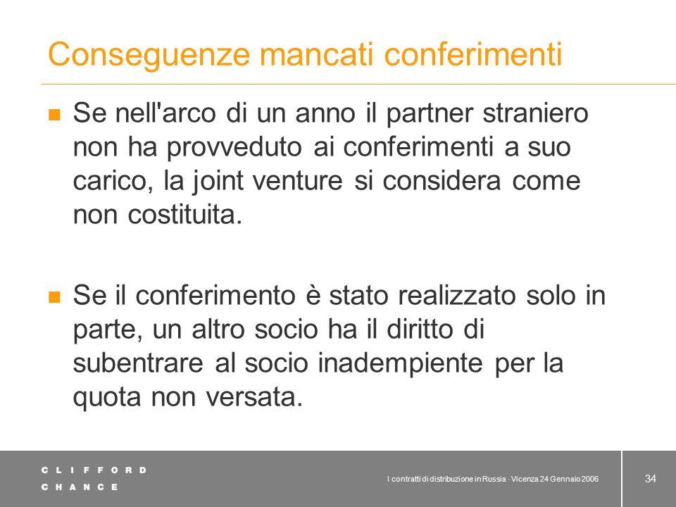 I contratti di distribuzione in Russia · Vicenza 24 Gennaio 2006 34 Conseguenze mancati conferimenti Se nell'arco di un anno il partner straniero non