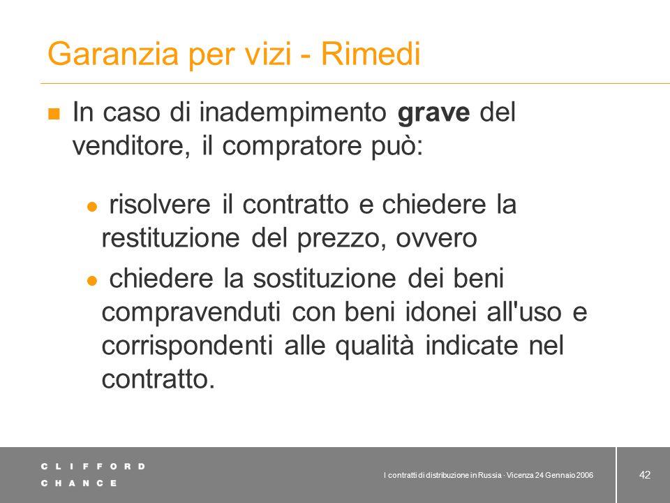 I contratti di distribuzione in Russia · Vicenza 24 Gennaio 2006 42 Garanzia per vizi - Rimedi In caso di inadempimento grave del venditore, il compra