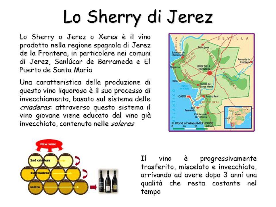 Lo Sherry di Jerez Il vino è progressivamente trasferito, miscelato e invecchiato, arrivando ad avere dopo 3 anni una qualità che resta costante nel tempo Lo Sherry o Jerez o Xeres è il vino prodotto nella regione spagnola di Jerez de la Frontera, in particolare nei comuni di Jerez, Sanlúcar de Barrameda e El Puerto de Santa María Una caratteristica della produzione di questo vino liquoroso è il suo processo di invecchiamento, basato sul sistema delle criaderas: attraverso questo sistema il vino giovane viene educato dal vino già invecchiato, contenuto nelle soleras