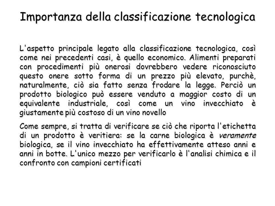 L aspetto principale legato alla classificazione tecnologica, così come nei precedenti casi, è quello economico.