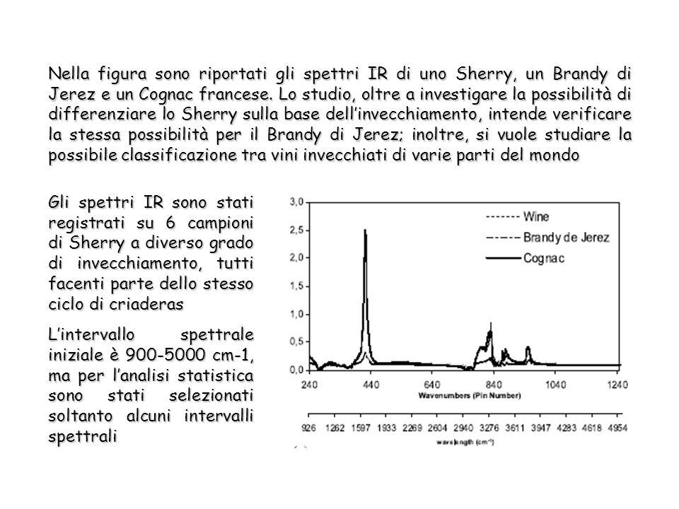 Nella figura sono riportati gli spettri IR di uno Sherry, un Brandy di Jerez e un Cognac francese.