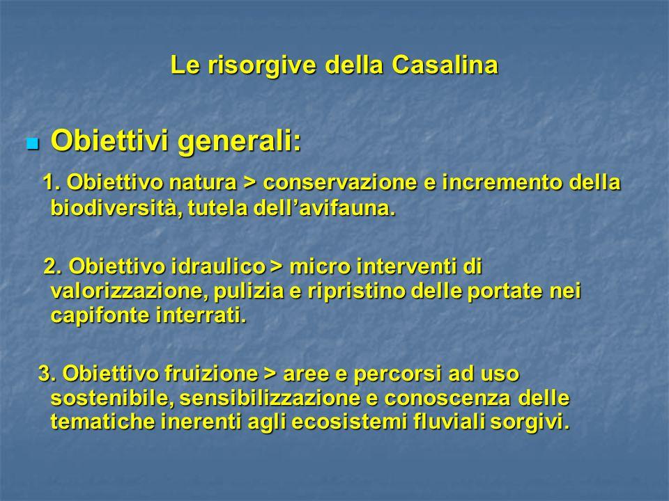 Le risorgive della Casalina Obiettivi generali: Obiettivi generali: 1. Obiettivo natura > conservazione e incremento della biodiversità, tutela dell'a