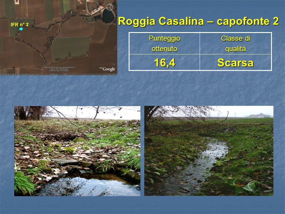 Roggia Casalina – capofonte 2 Roggia Casalina – capofonte 2Punteggioottenuto Classe di qualità16,4Scarsa