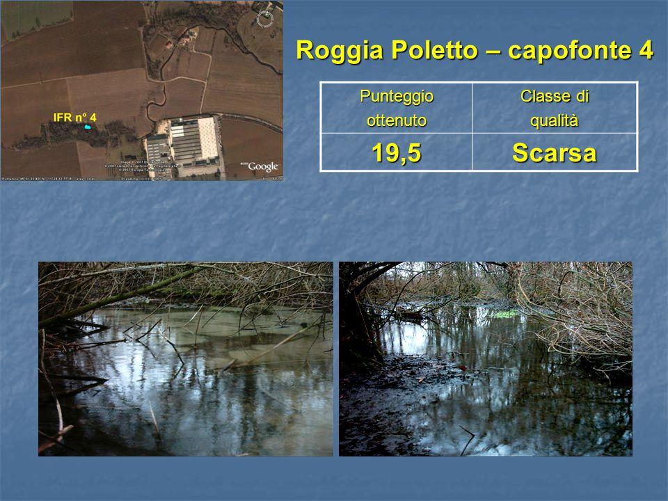 Roggia Poletto – capofonte 4 Roggia Poletto – capofonte 4Punteggioottenuto Classe di qualità19,5Scarsa