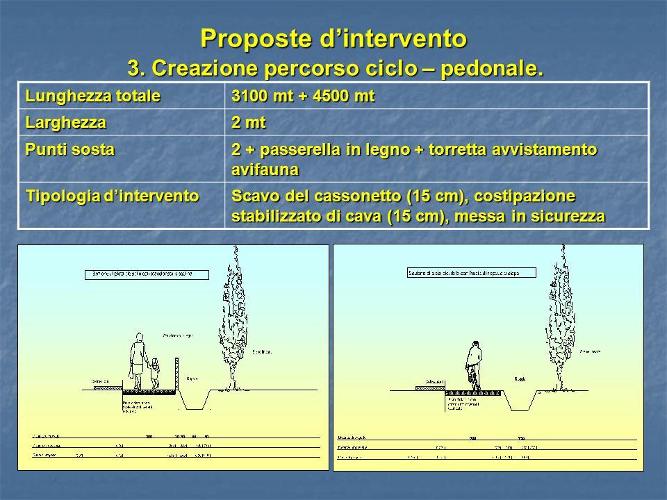 Proposte d'intervento 3. Creazione percorso ciclo – pedonale. Lunghezza totale 3100 mt + 4500 mt Larghezza 2 mt Punti sosta 2 + passerella in legno +