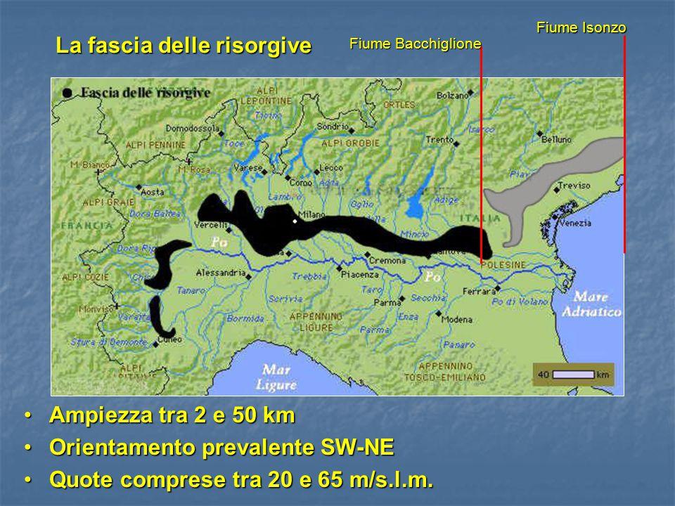 Fiume Bacchiglione Fiume Bacchiglione Fiume Isonzo Fiume Isonzo Ampiezza tra 2 e 50 kmAmpiezza tra 2 e 50 km Orientamento prevalente SW-NEOrientamento
