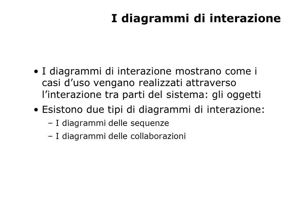 I diagrammi di interazione I diagrammi di interazione mostrano come i casi d'uso vengano realizzati attraverso l'interazione tra parti del sistema: gli oggetti Esistono due tipi di diagrammi di interazione: – I diagrammi delle sequenze – I diagrammi delle collaborazioni