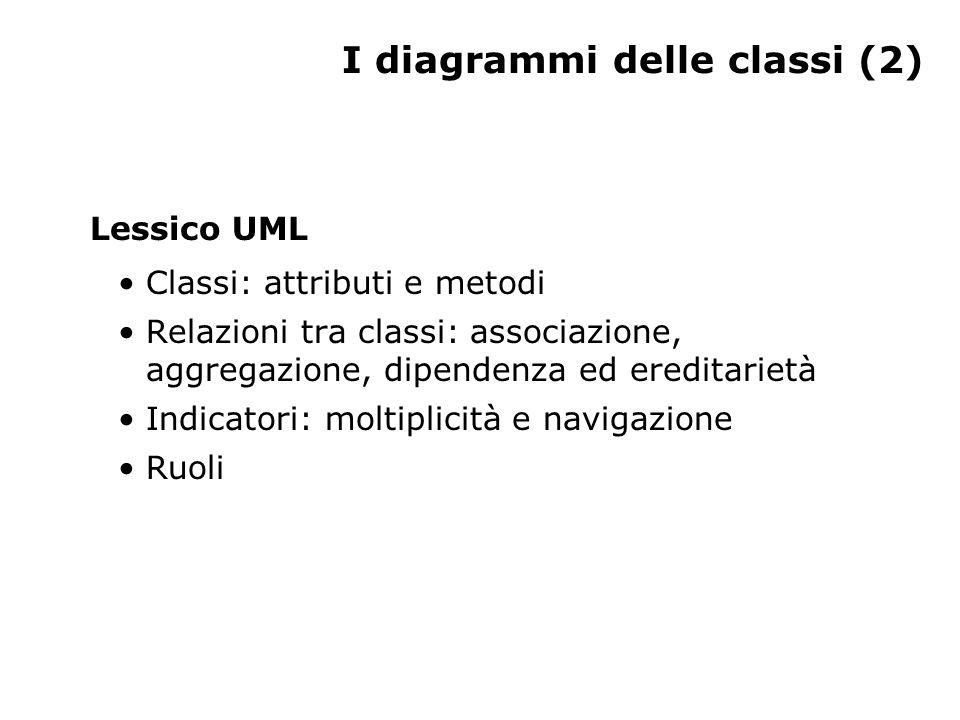 I diagrammi delle classi (2) Lessico UML Classi: attributi e metodi Relazioni tra classi: associazione, aggregazione, dipendenza ed ereditarietà Indicatori: moltiplicità e navigazione Ruoli