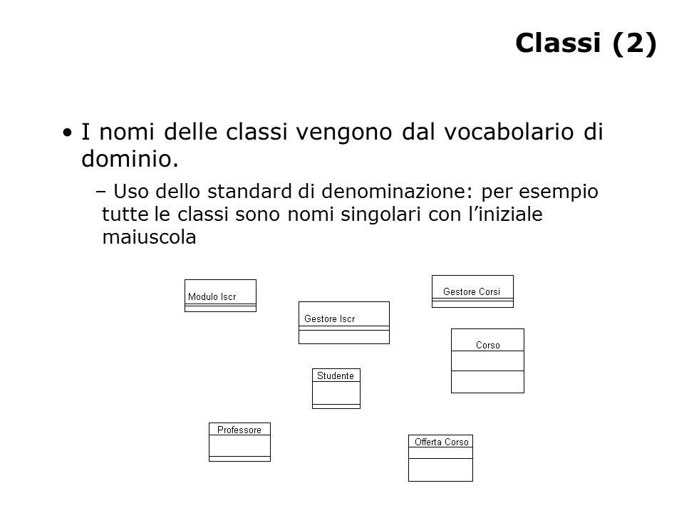 Classi (2) I nomi delle classi vengono dal vocabolario di dominio. – Uso dello standard di denominazione: per esempio tutte le classi sono nomi singol