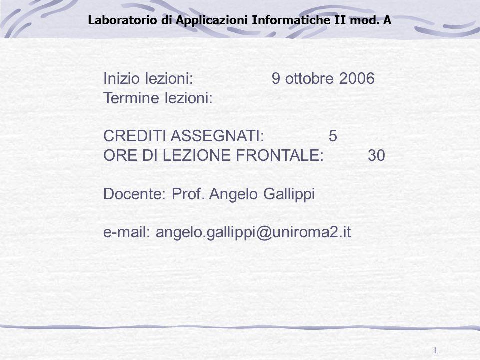 1 Laboratorio di Applicazioni Informatiche II mod.