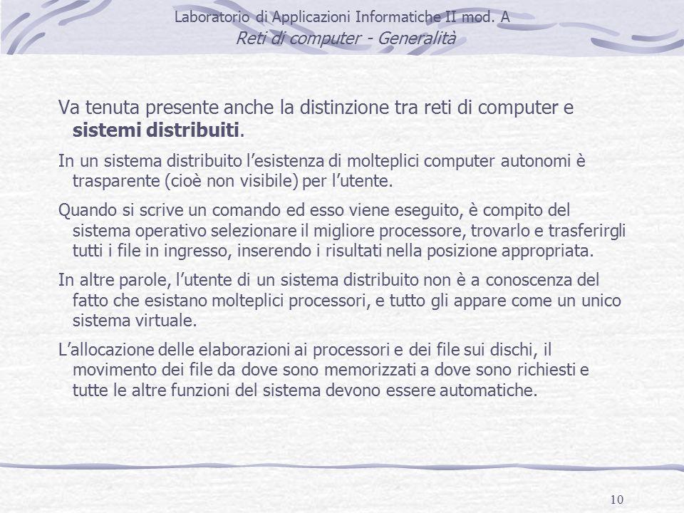 10 Laboratorio di Applicazioni Informatiche II mod.