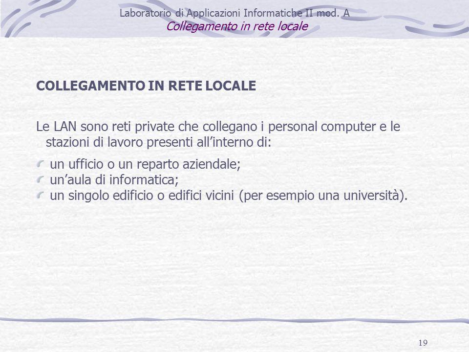 19 Laboratorio di Applicazioni Informatiche II mod.