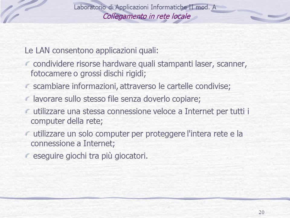 20 Laboratorio di Applicazioni Informatiche II mod.