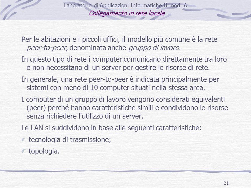 21 Laboratorio di Applicazioni Informatiche II mod.