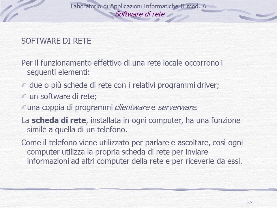 25 SOFTWARE DI RETE Per il funzionamento effettivo di una rete locale occorrono i seguenti elementi: due o più schede di rete con i relativi programmi driver; un software di rete; una coppia di programmi clientware e serverware.